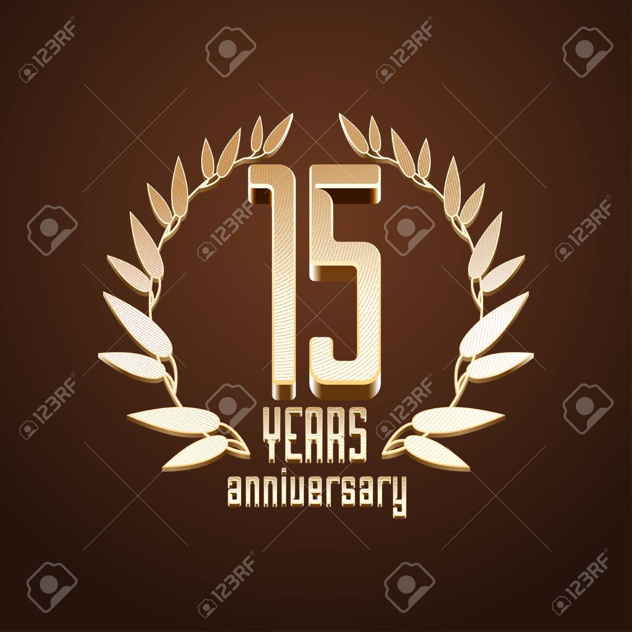 15 Years Anniversary Vector 15th Birthday Age Classic Decoration