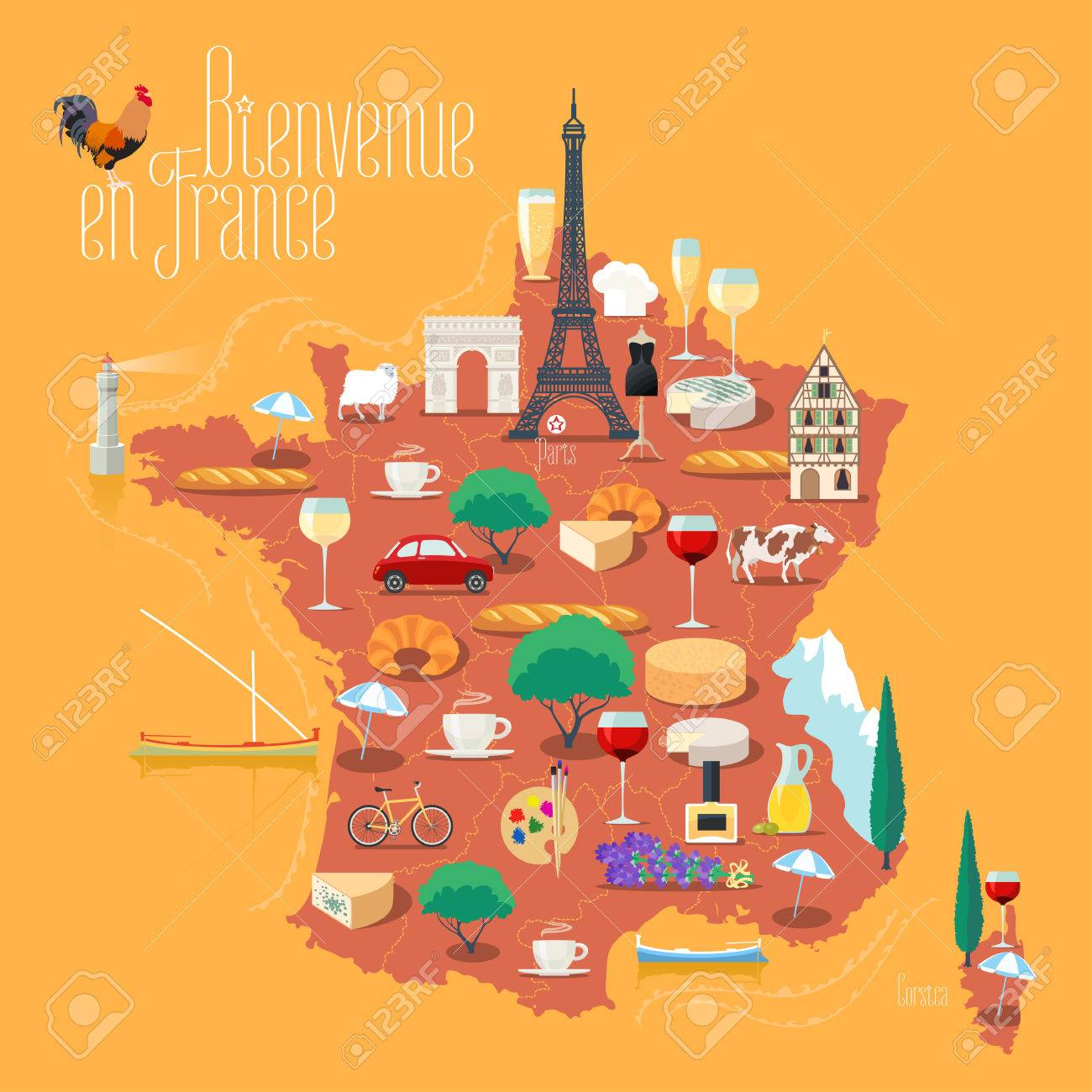Map Of France Eiffel Tower.Map Of France Vector Isolated Illustration Set Of Icons With
