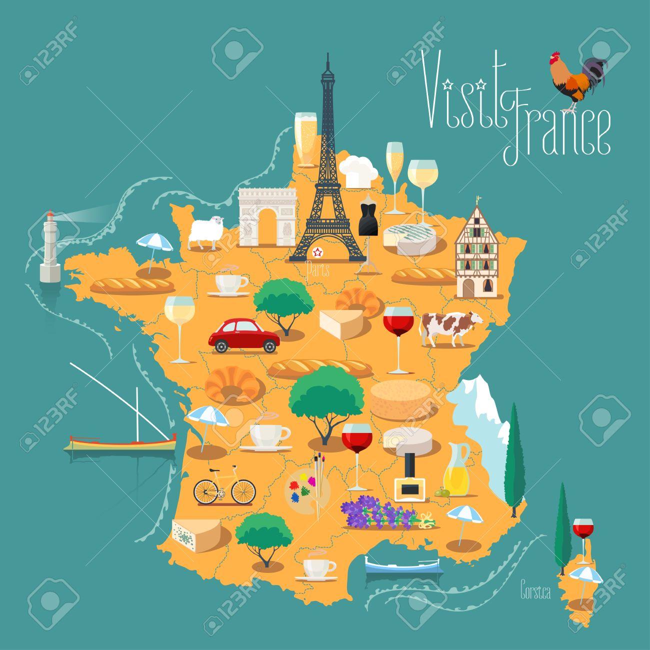 Kaart Van Frankrijk Vector Geisoleerde Illustratie Set Van