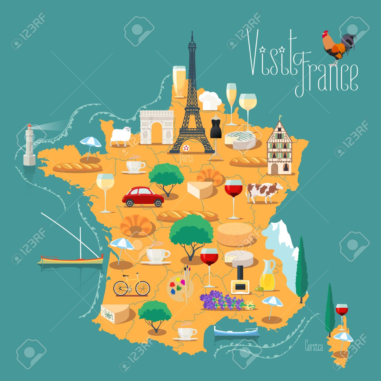 Map Of The Alps In France.Map Of France Vector Isolated Illustration Set Of Icons With