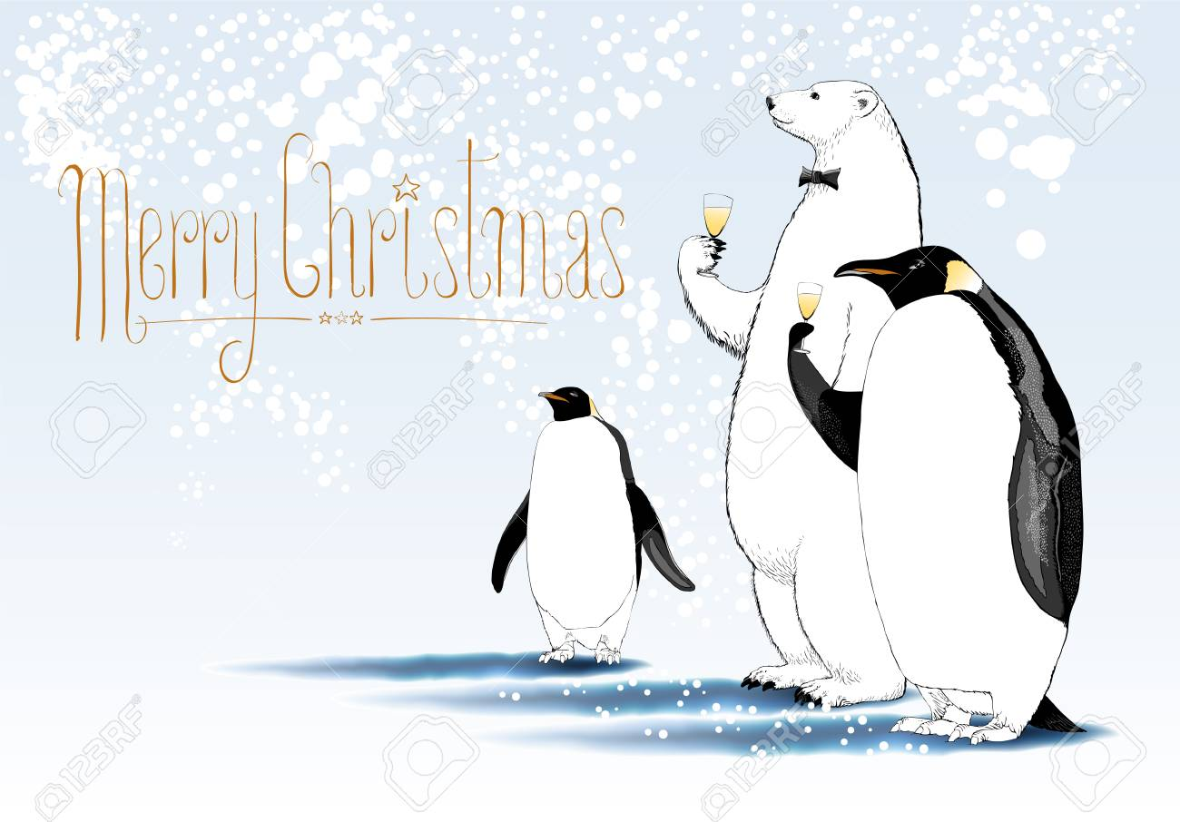 Merry christmas vector greeting card party of penguin polar merry christmas vector greeting card party of penguin polar bear characters drinking glass of kristyandbryce Gallery