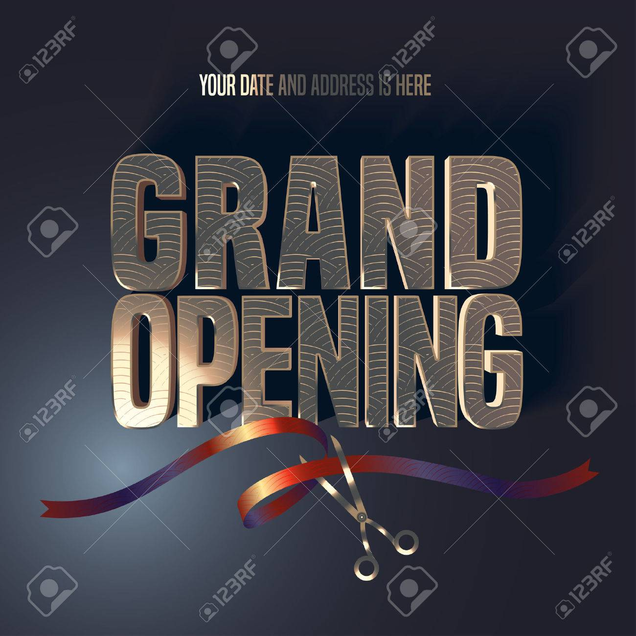 Grand opening vector illustration, background, banner. Design element with elegant premium style sign, scissors cutting red ribbon for opening ceremony - 61581624