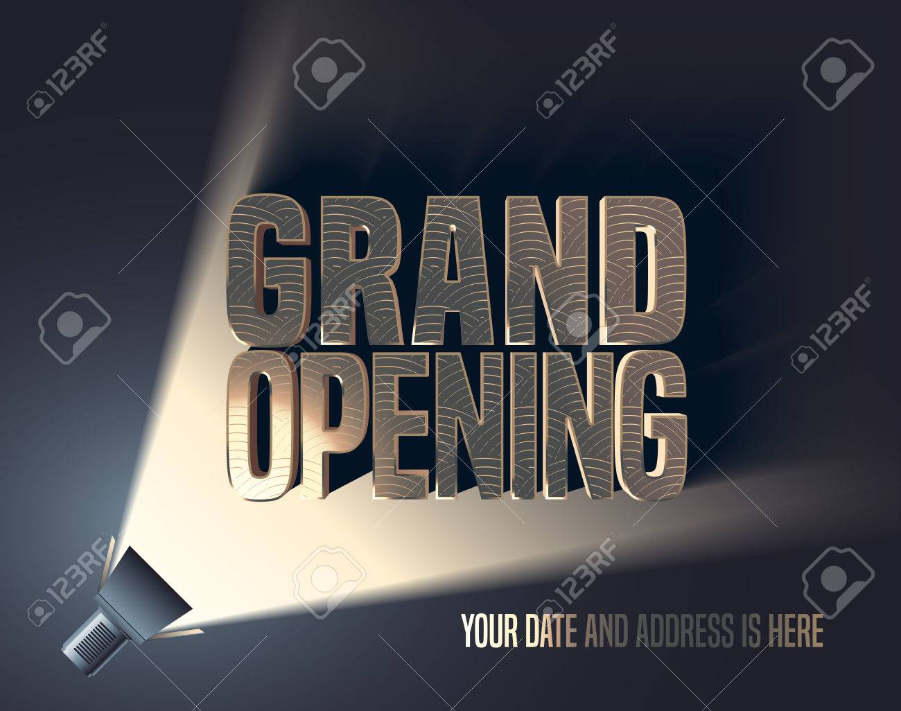 Grand Opening Vector Illustration, Background With Flashlight ...