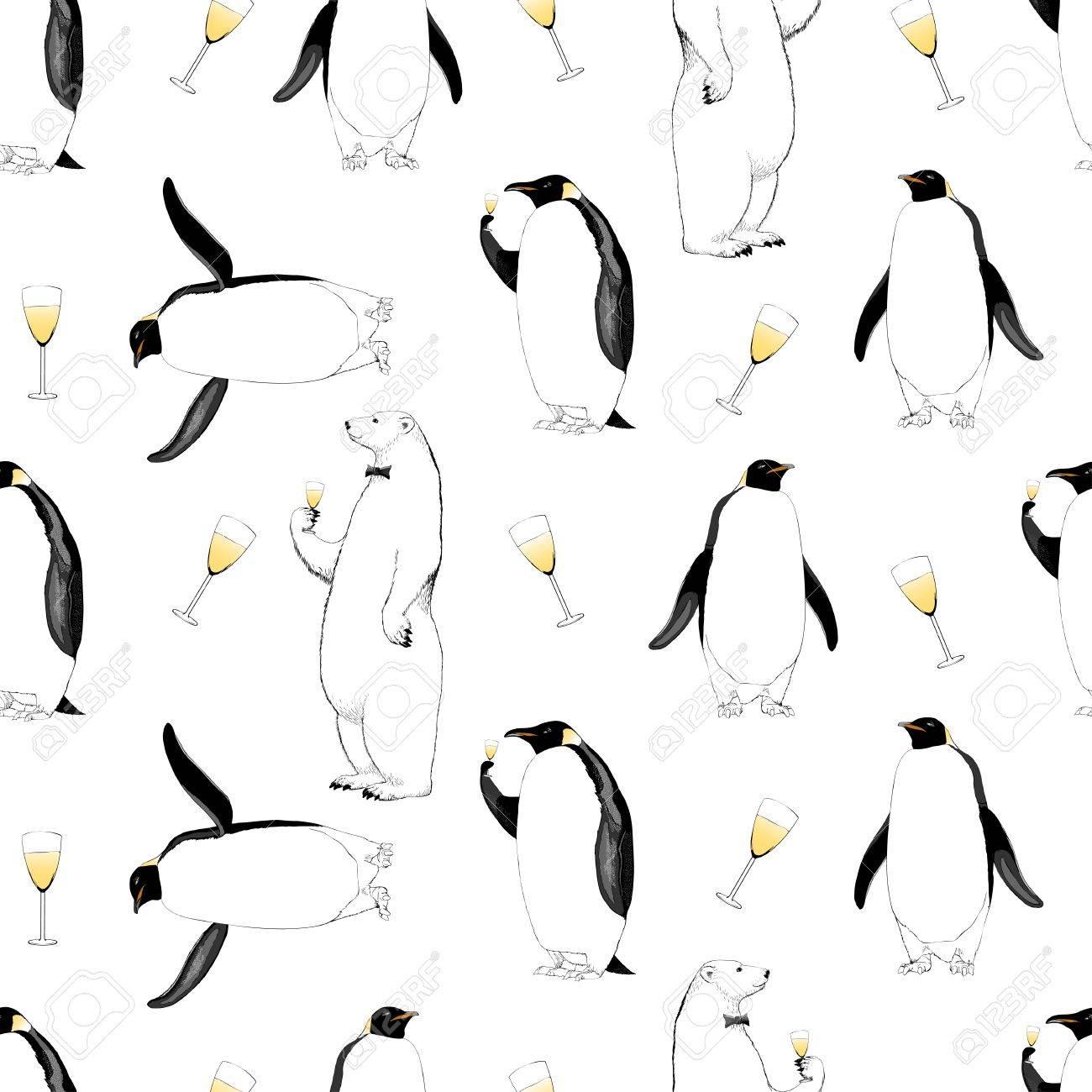 Año Nuevo 2017, Navidad Vector De Patrones Sin Fisuras Con Pingüino ...