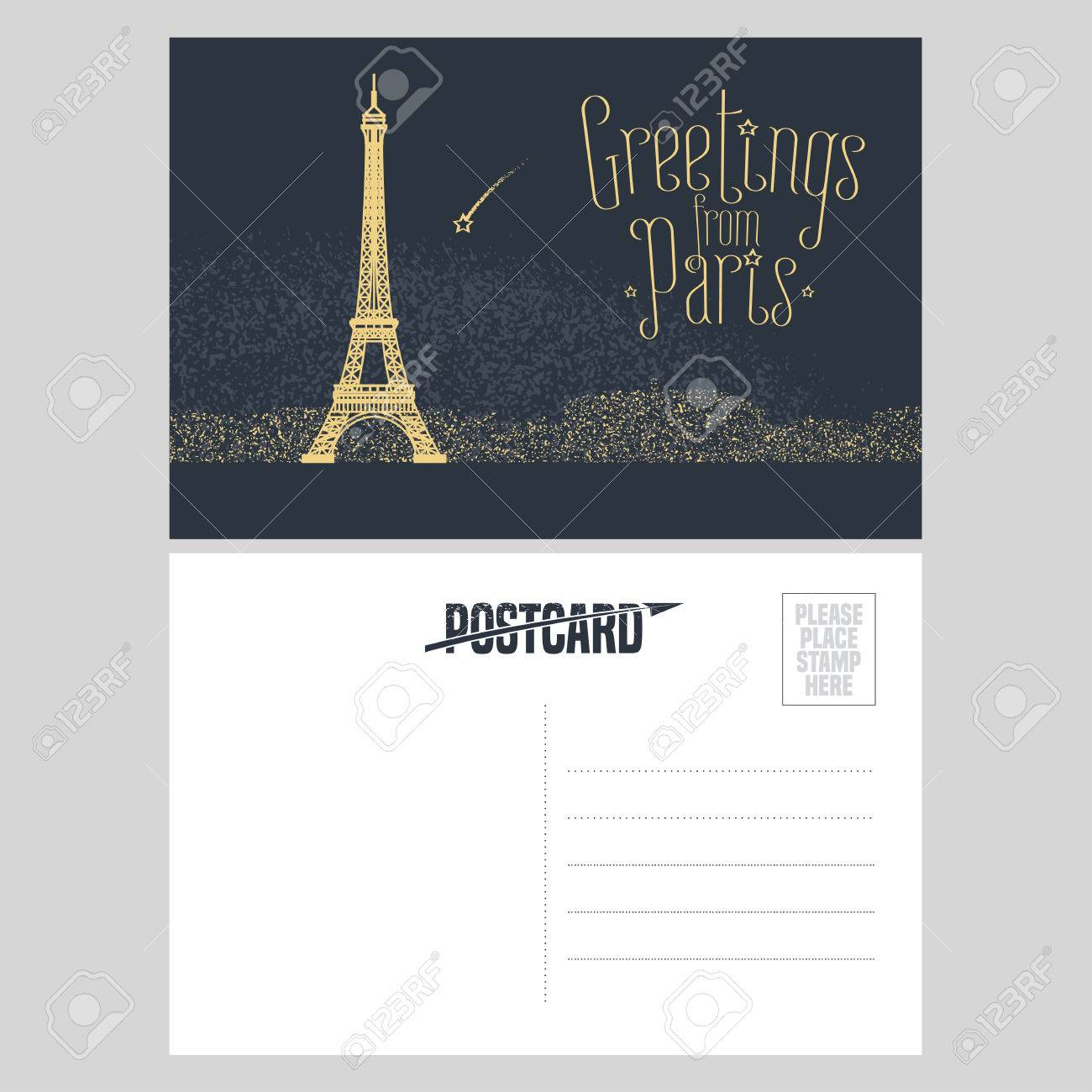 France, Paris Vector Postcard Design With Eiffel Tower And Lights ...
