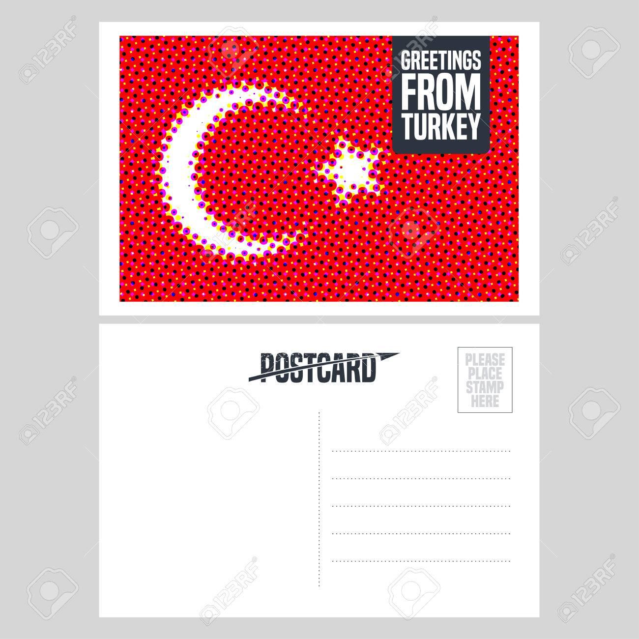 turkey istanbul vector postcard design with turkish flag template