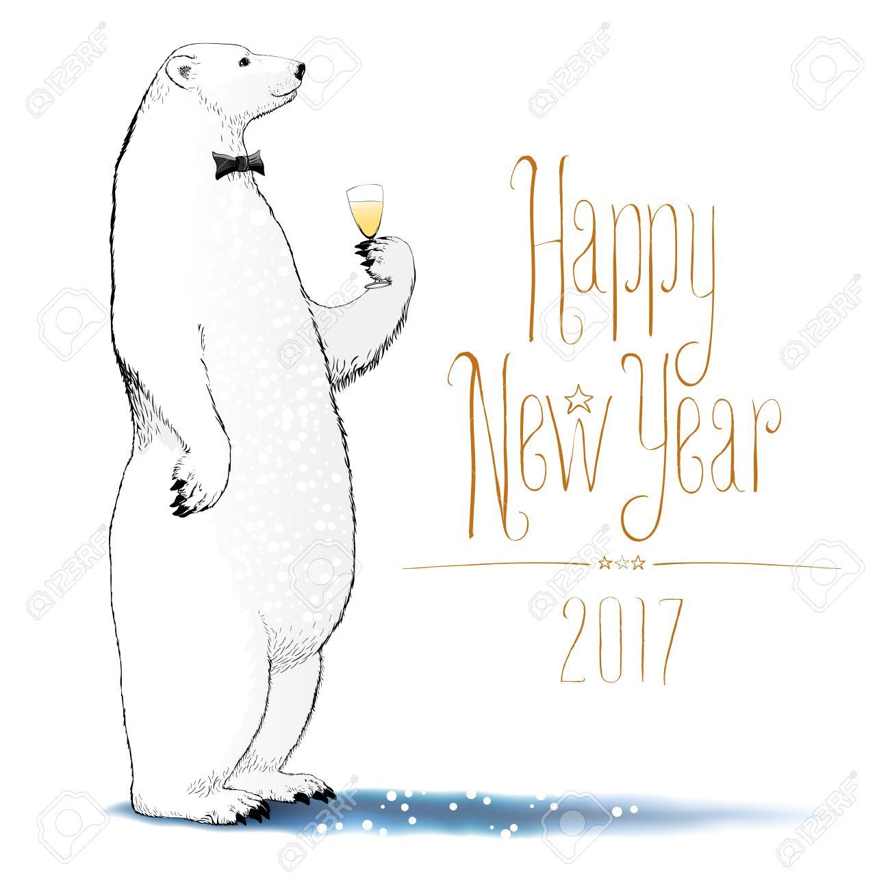 Happy New Year 2017 Vector Drawing Greeting Card Polar Bear