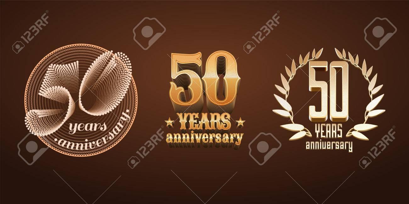 Ensemble Dicônes De 50 Ans Numéro 50ème Anniversaire Mariage Ou Anniversaire De Graduation Jubilé Décoration éléments De Design Signes Emblème