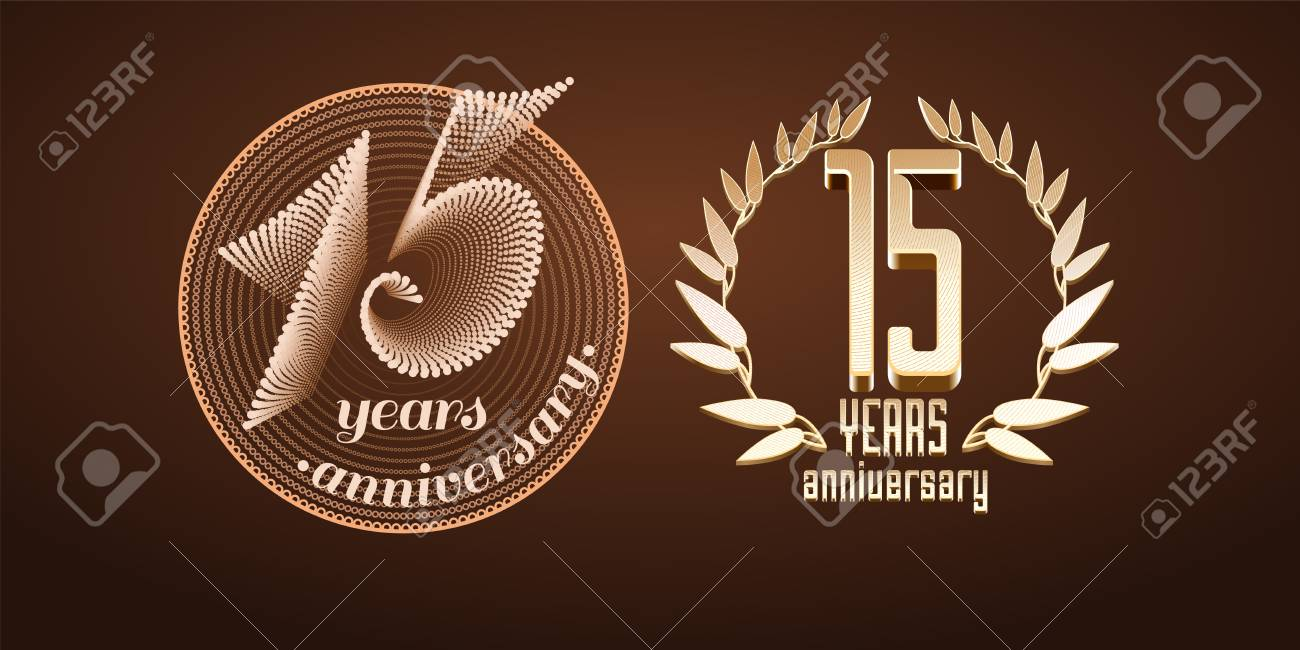 15 Years Anniversary Set Of Icon Number 15th Birthday Marriage Or