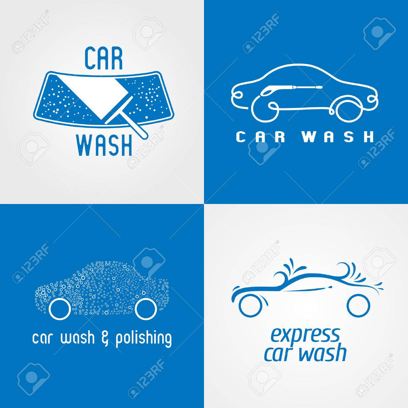 Carwash Car Wash Set Of Icon Symbol Emblem Sign Template