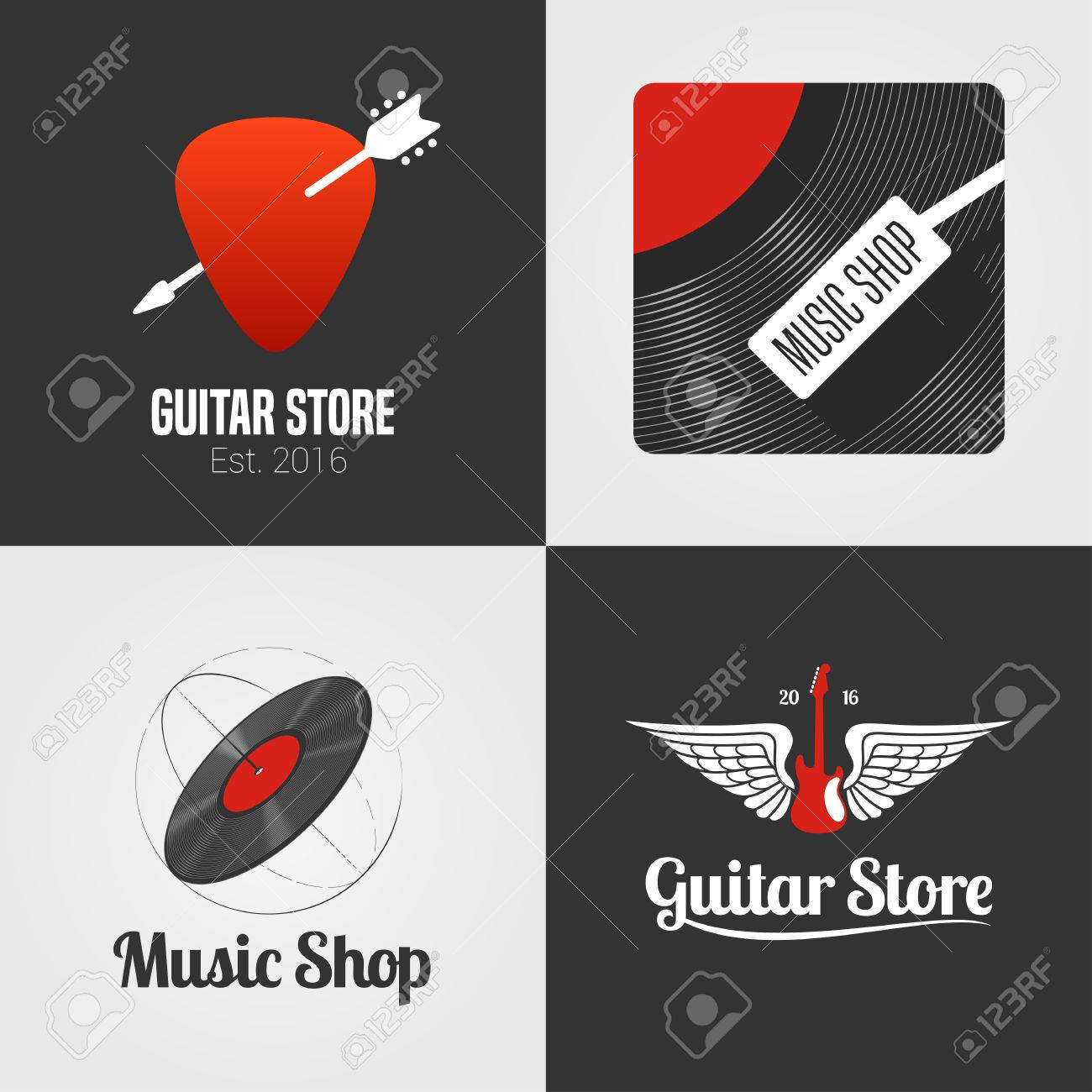 guitar shop music store set collection of icon symbol emblem