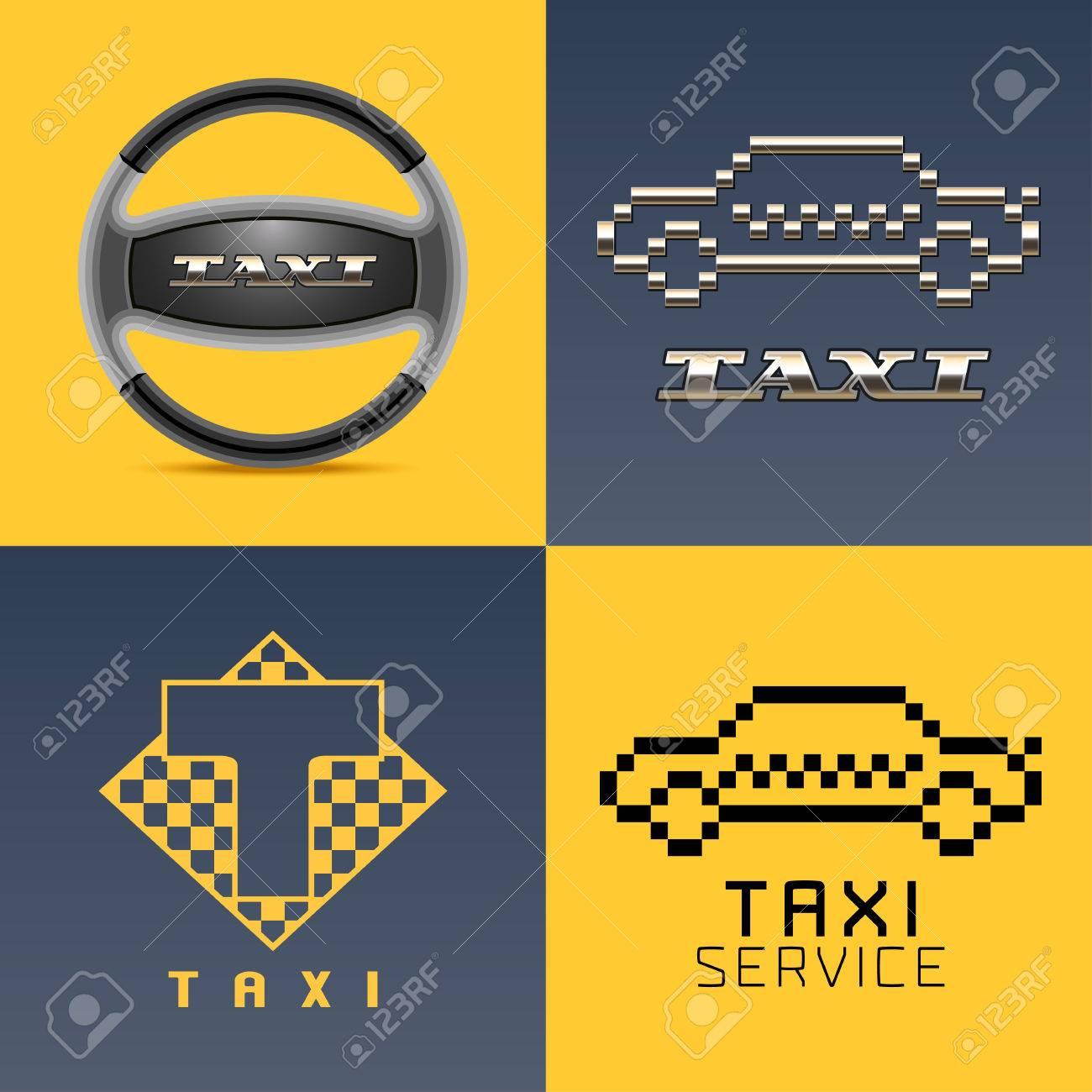 Taxi Cab Car Hire Set Icon App Emblem Symbol Pixel Yellow