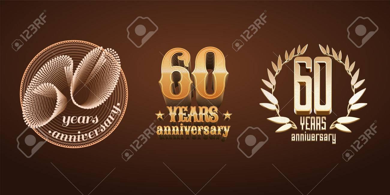 60 Jahre Jubilaum Der Vektor Symbol Nummer 60 Geburtstag