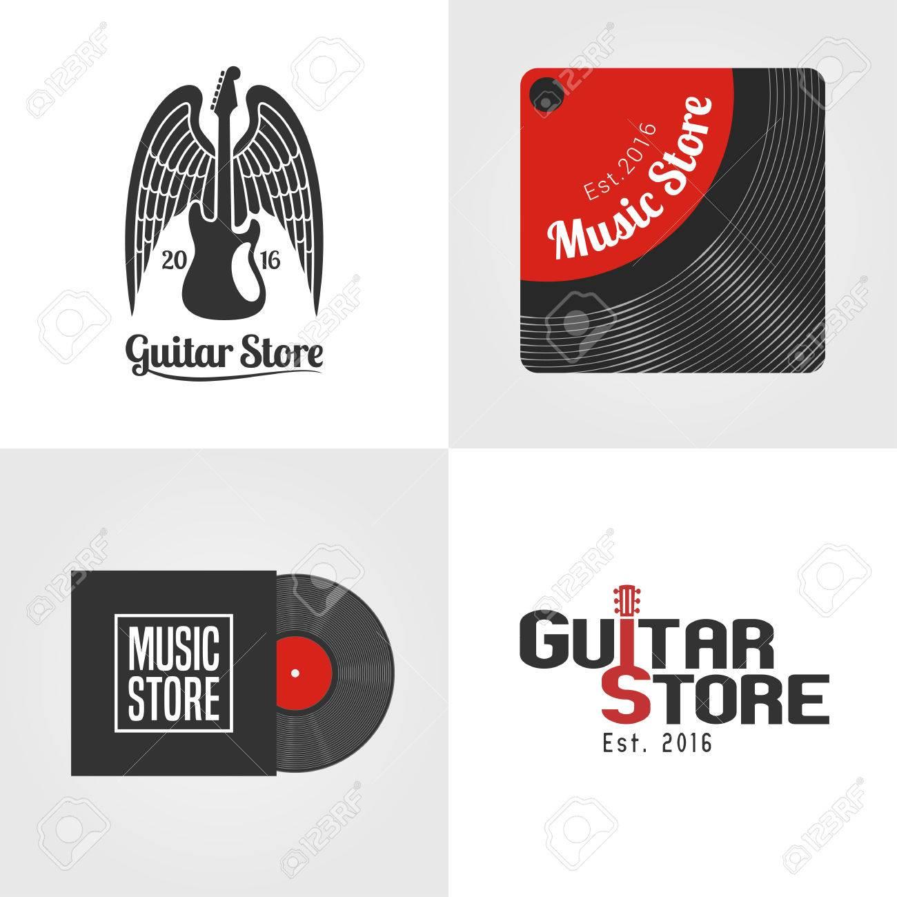 tienda de guitarras, música conjunto tienda de icono de vector