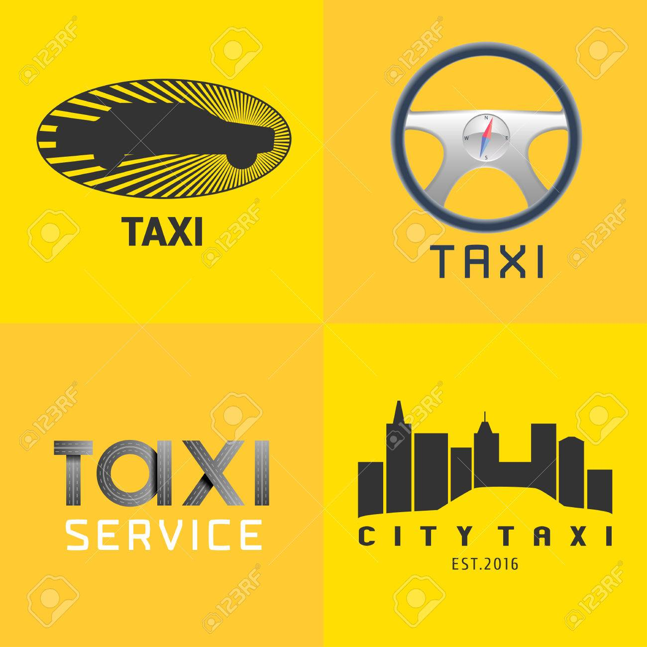 Taxi Cab Set Of Vector Icon Background Car Hire Black And