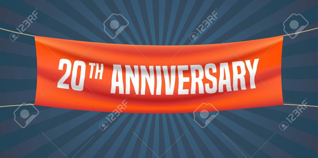 20 Years Anniversary Vector Illustration Banner Flyer Icon