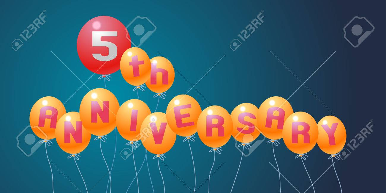 5 Years Anniversary Vector Illustration Banner Flyer Icon