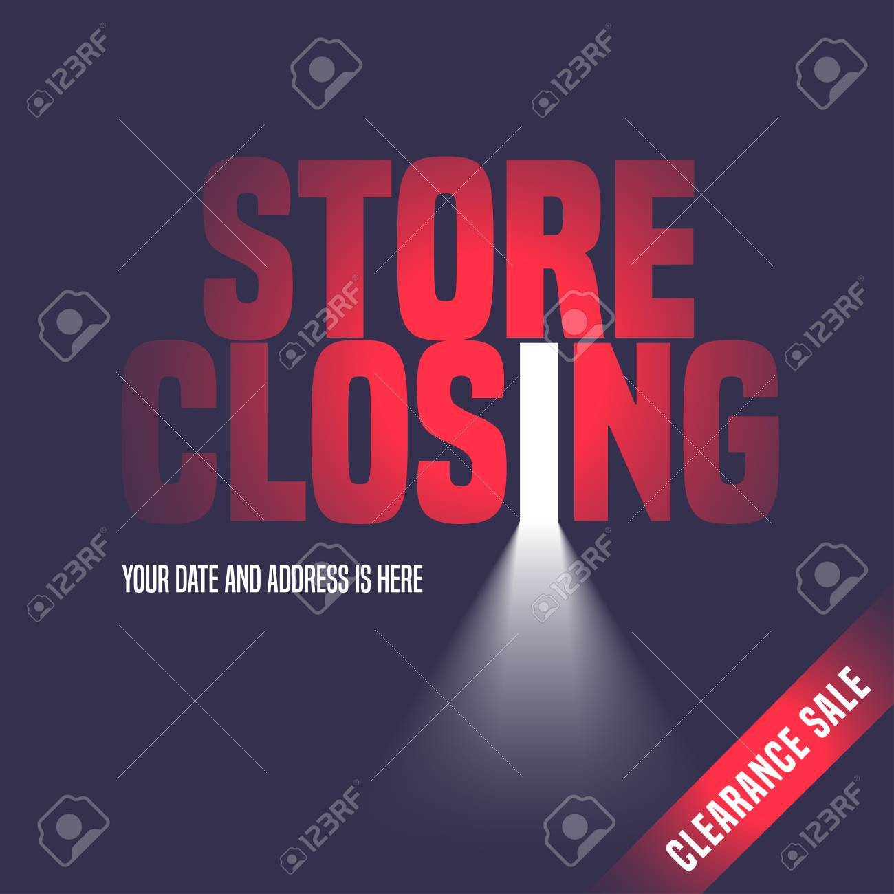 Store closing sale vector illustration background with open door light and lettering sign. & Store Closing Sale Vector Illustration Background With Open ...