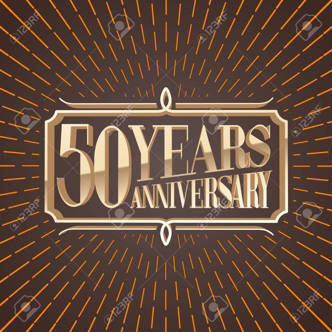50 Years Anniversary Vector Illustration Icon Logo Decorative Graphic Design Element For 50th