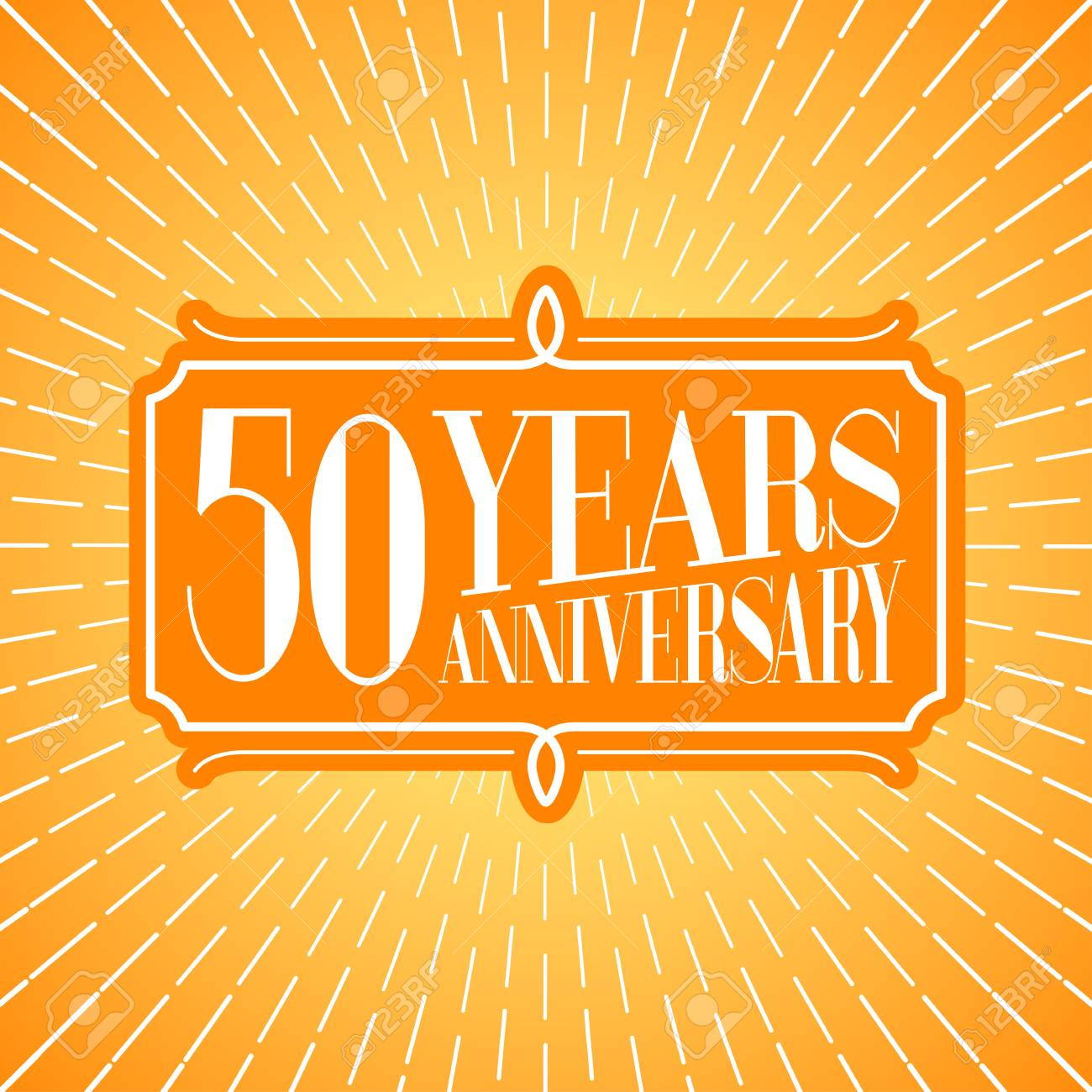 50 Years Anniversary Vector Icon Logo Graphic Design Element For 50th Birthday Greeting