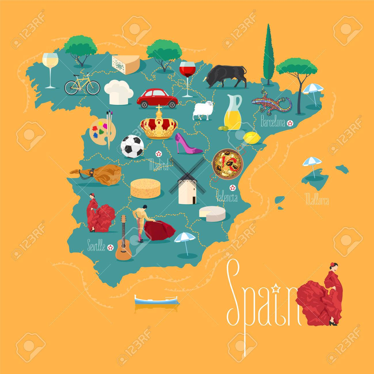 Map Of Spain Landmarks.Map Of Spain Vector Illustration Design Icons With Spanish