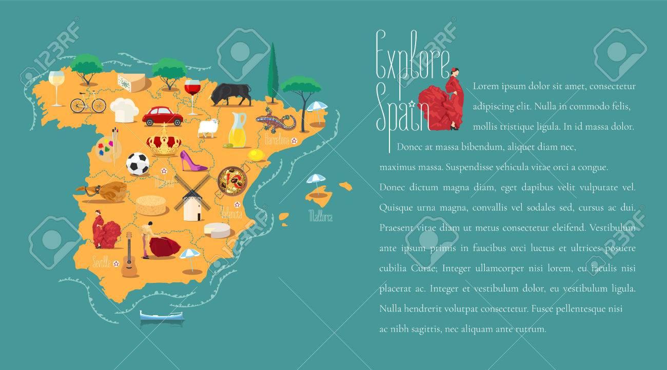 Mapa De España Plantilla Ilustración Vectorial. Los Iconos Con La ...
