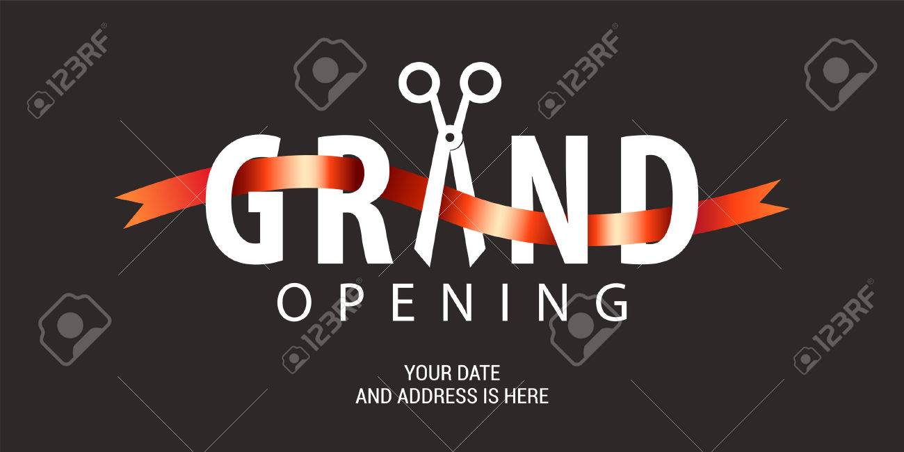 Grand opening vector background. Scissors and red ribbon nonstandard design element for banner or backdrop for opening ceremony - 71480198