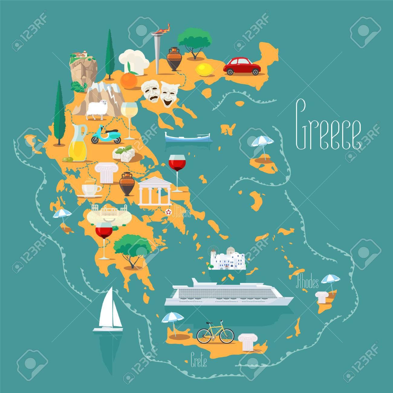 Carte Grece Iles.Carte De La Grece Avec Des Iles Illustration Vectorielle Design Icones Avec Reperes Grecs Acropole Et Nourriture