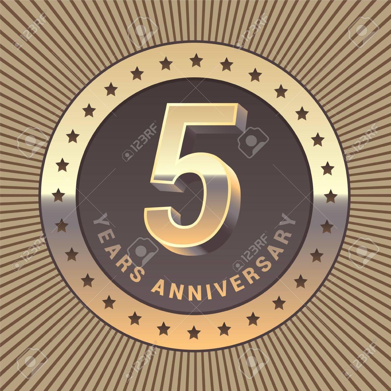 5 years anniversary vector icon logo graphic design element 5 years anniversary vector icon logo graphic design element or emblem as a golden biocorpaavc Choice Image