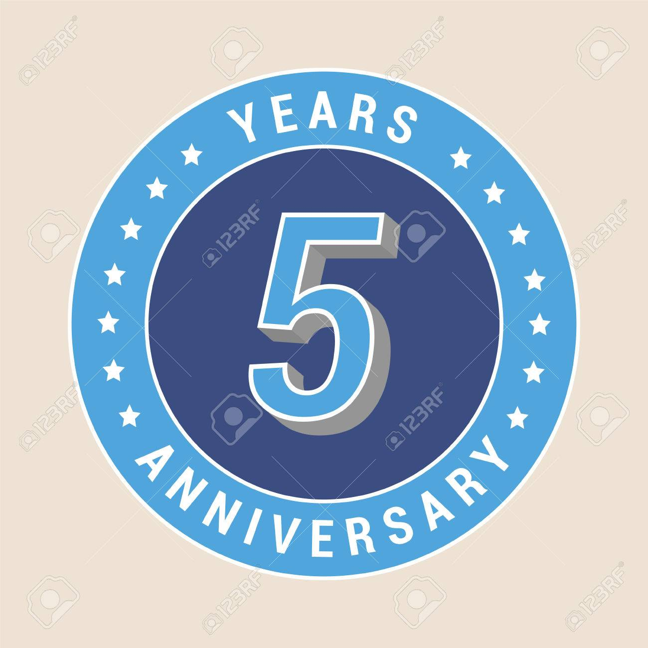 5 years anniversary vector icon emblem design element with 5 years anniversary vector icon emblem design element with blue color medal as a biocorpaavc Choice Image