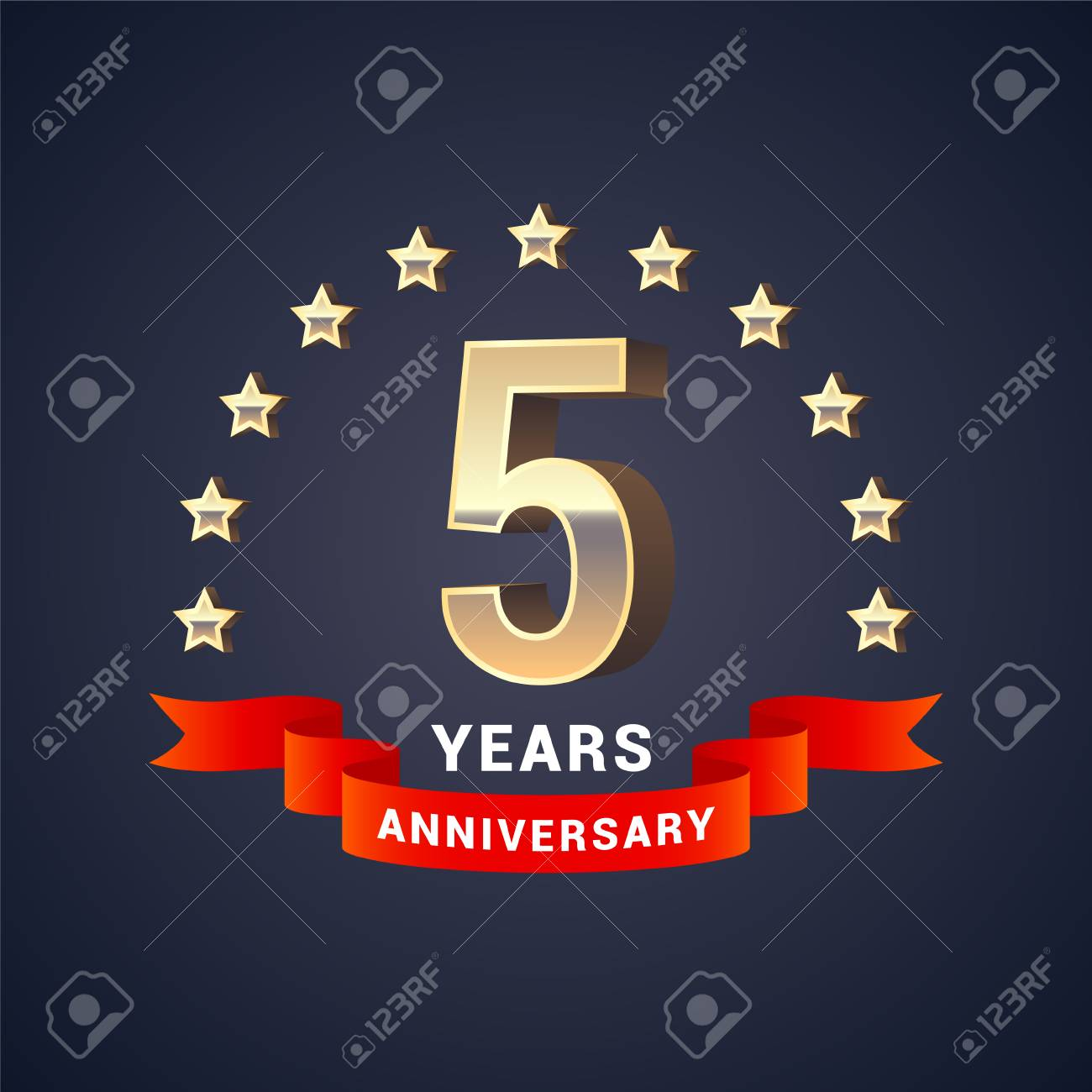 5 years anniversary vector icon logo graphic design element 5 years anniversary vector icon logo graphic design element with golden 3d numbers for biocorpaavc Gallery