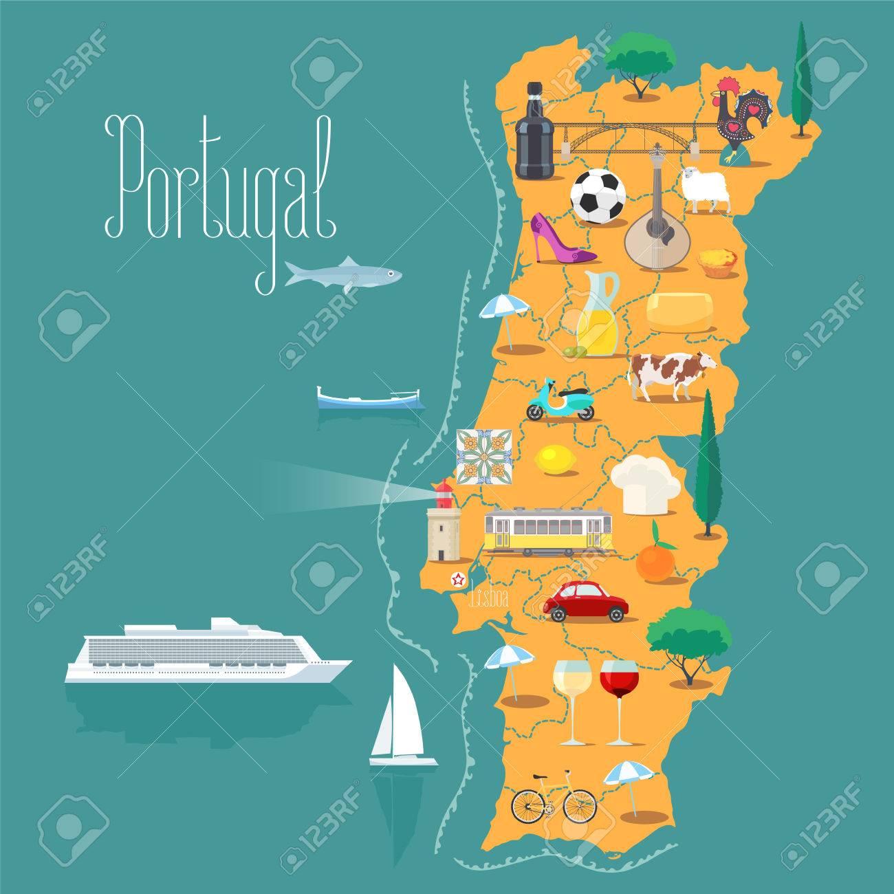 Kaart Van Portugal Vectorillustratie Ontwerp Pictogrammen Met