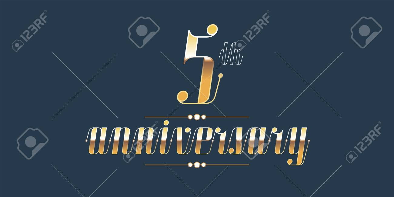 5 Years Anniversary Vector Logo Decorative Design Element With