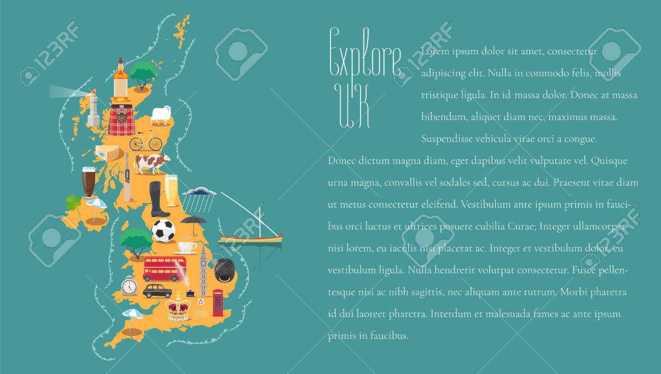 Britain England Map.Map Of United Kingdom Great Britain England Template Vector