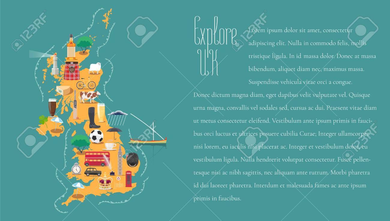 Mapa De Reino Unido, Gran Bretaña, Inglaterra Plantilla Ilustración ...