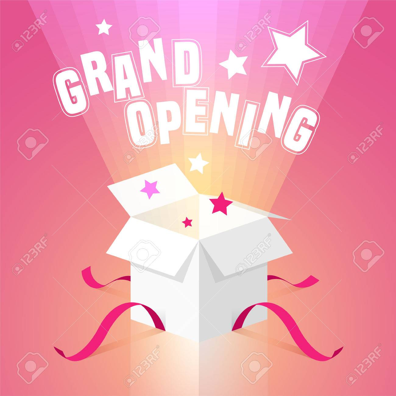 grand opening vector background with open box template design