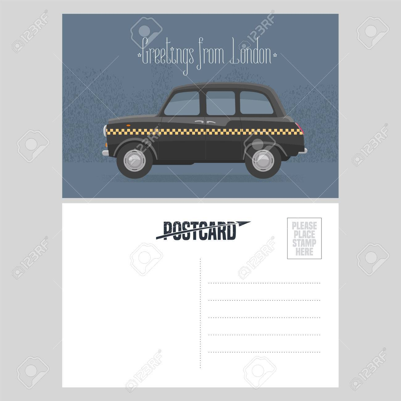 Postcard With Cab And Greetings From London Sign Vector Illustration Template Double Sides Blank Card