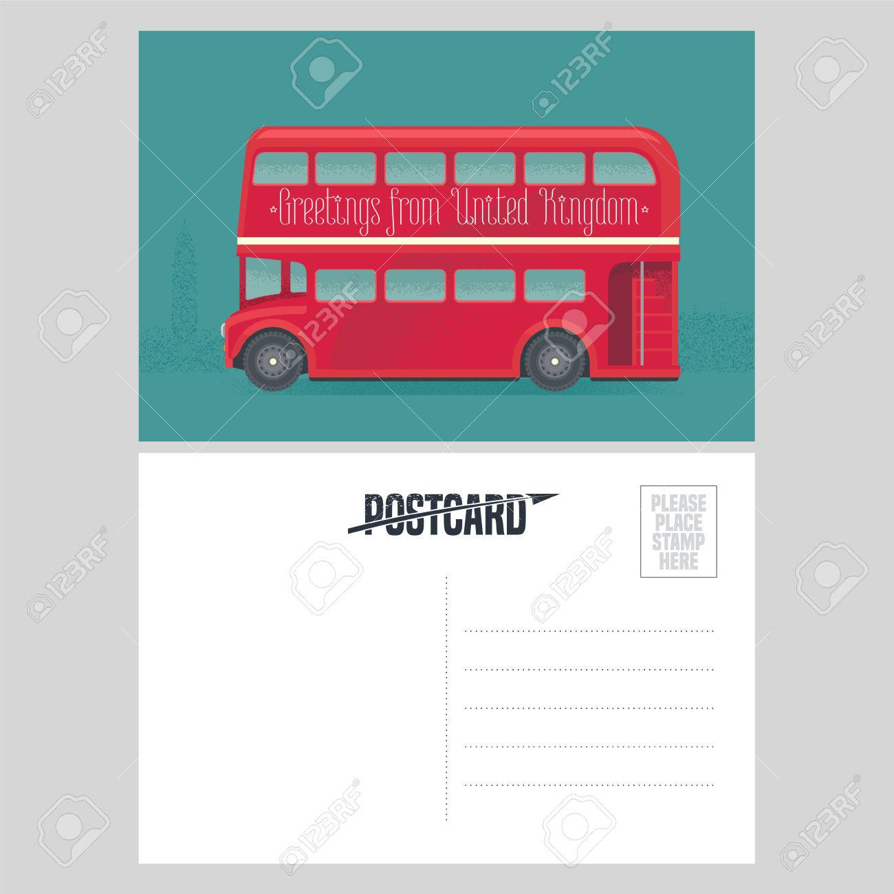 Postcard Template With Greetings From United Kingdom UK Red Double Decker Symbol
