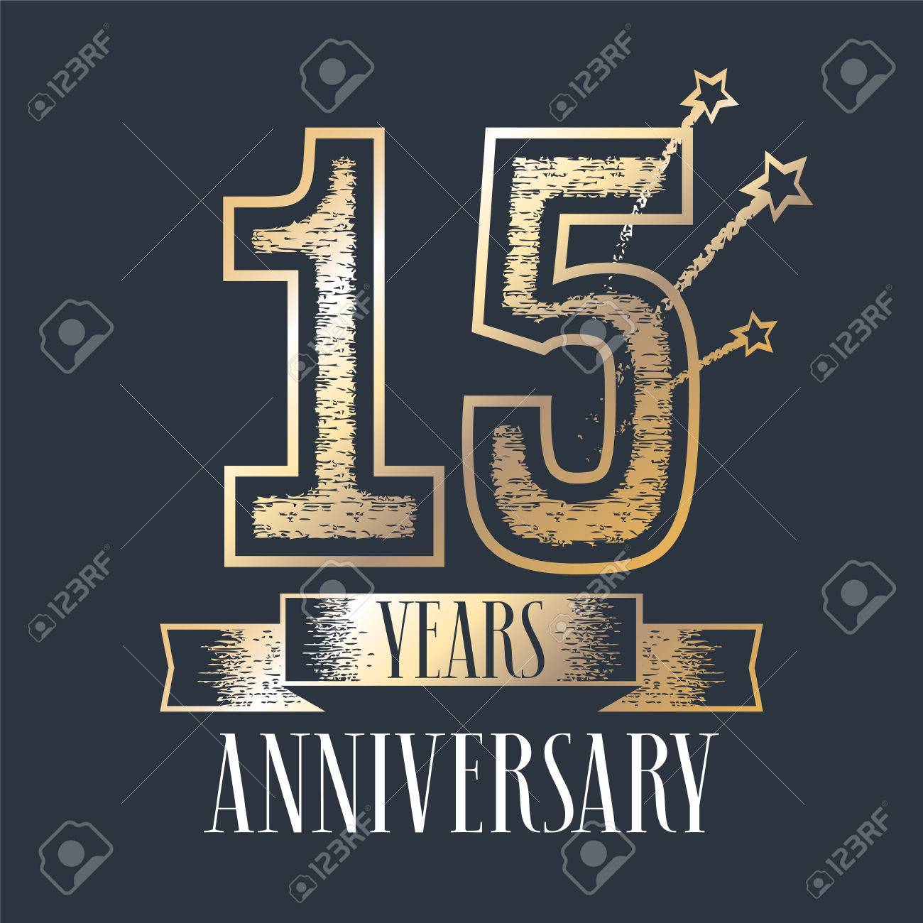 15 Years Anniversary Vector Icon Logo Graphic Design Element