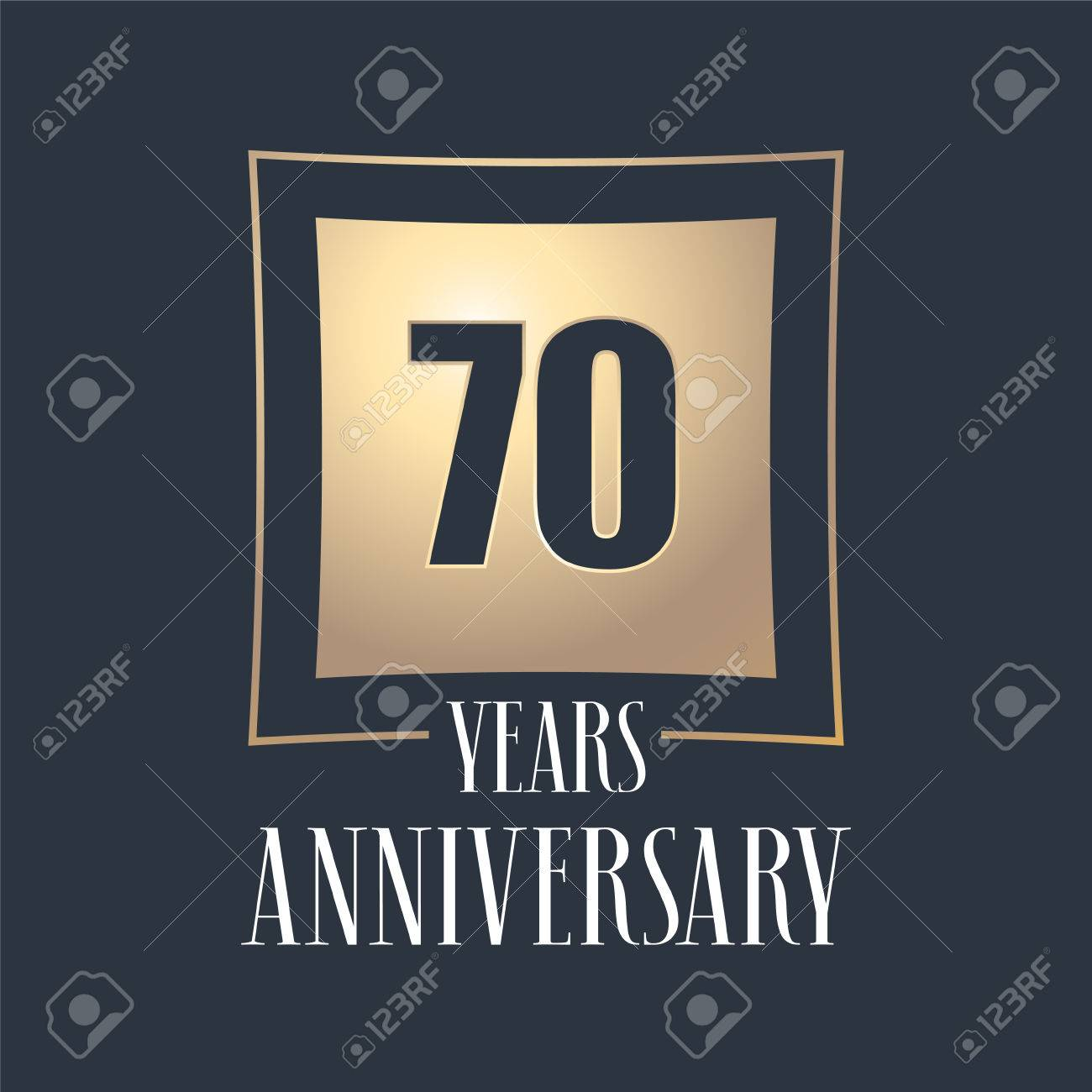 Symbole De Celebration Anniversaire De 70 Ans Logo Element De Conception De Modele Avec Numero D Or Pour La Carte De Voeux Du 70e Anniversaire Clip Art Libres De Droits Vecteurs Et