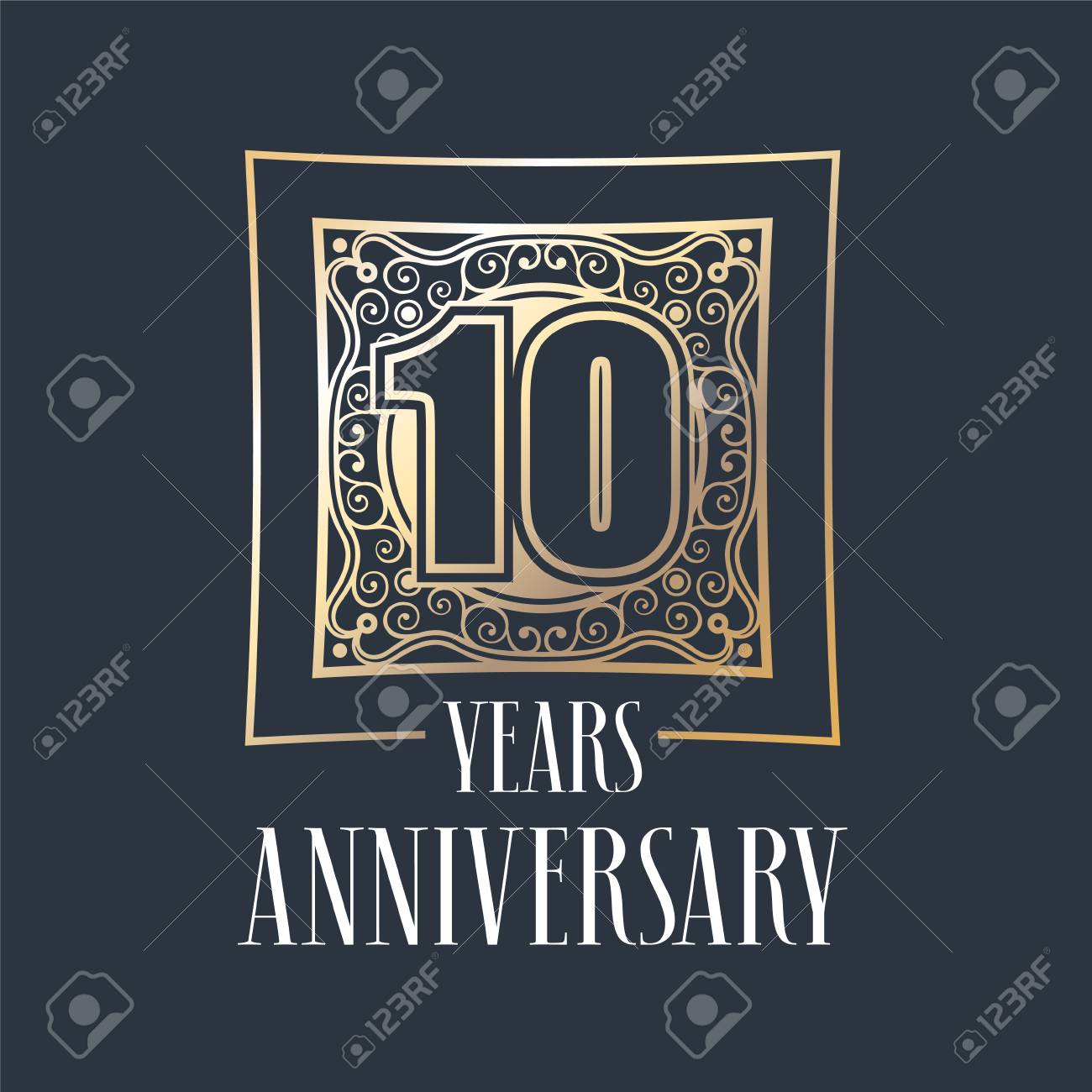 10 Years Anniversary Vector Icon Logo Graphic Design Element