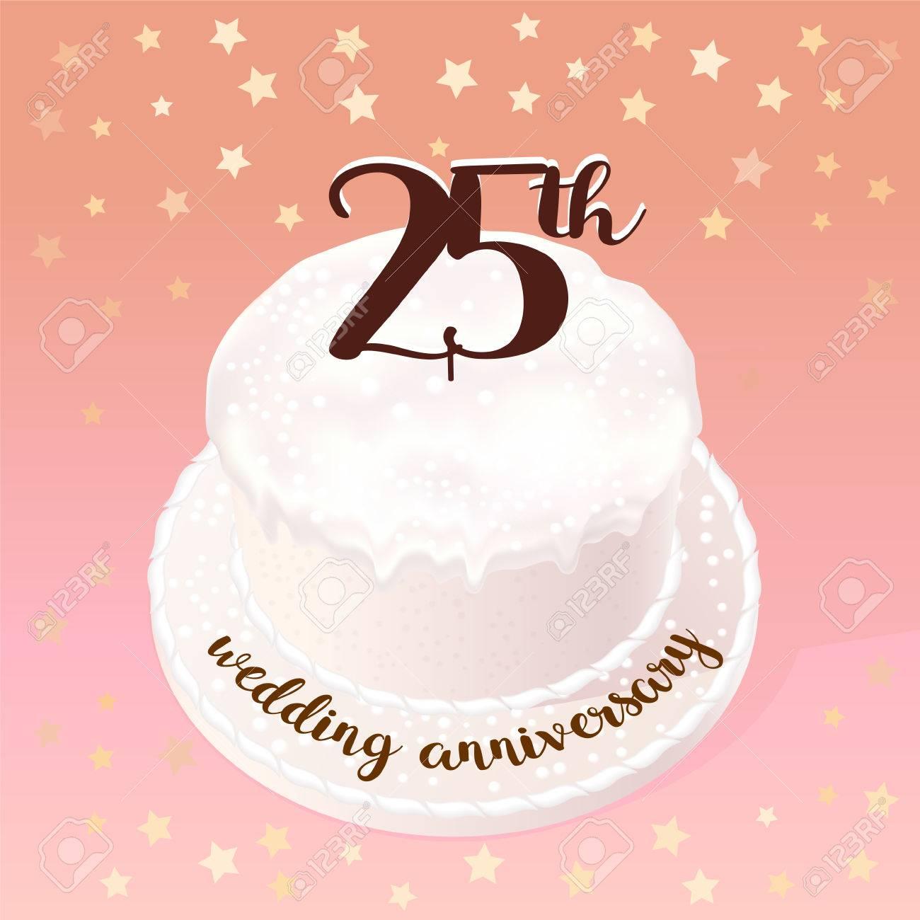25 Ans Dicône De Vecteur Mariage Ou Mariage Illustration élément De Design Avec Gâteau De Célébration Pour Le 25ème Anniversaire De Mariage