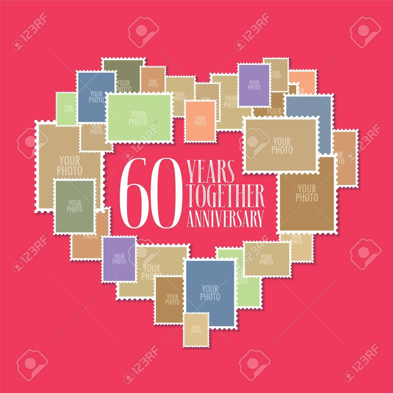 60 Años De Icono Del Vector De La Boda O Del Matrimonio Ilustración Elemento De Diseño De Plantilla Con Marcos De Fotos Y Forma De Corazón Para La Celebración Del 60 Aniversario