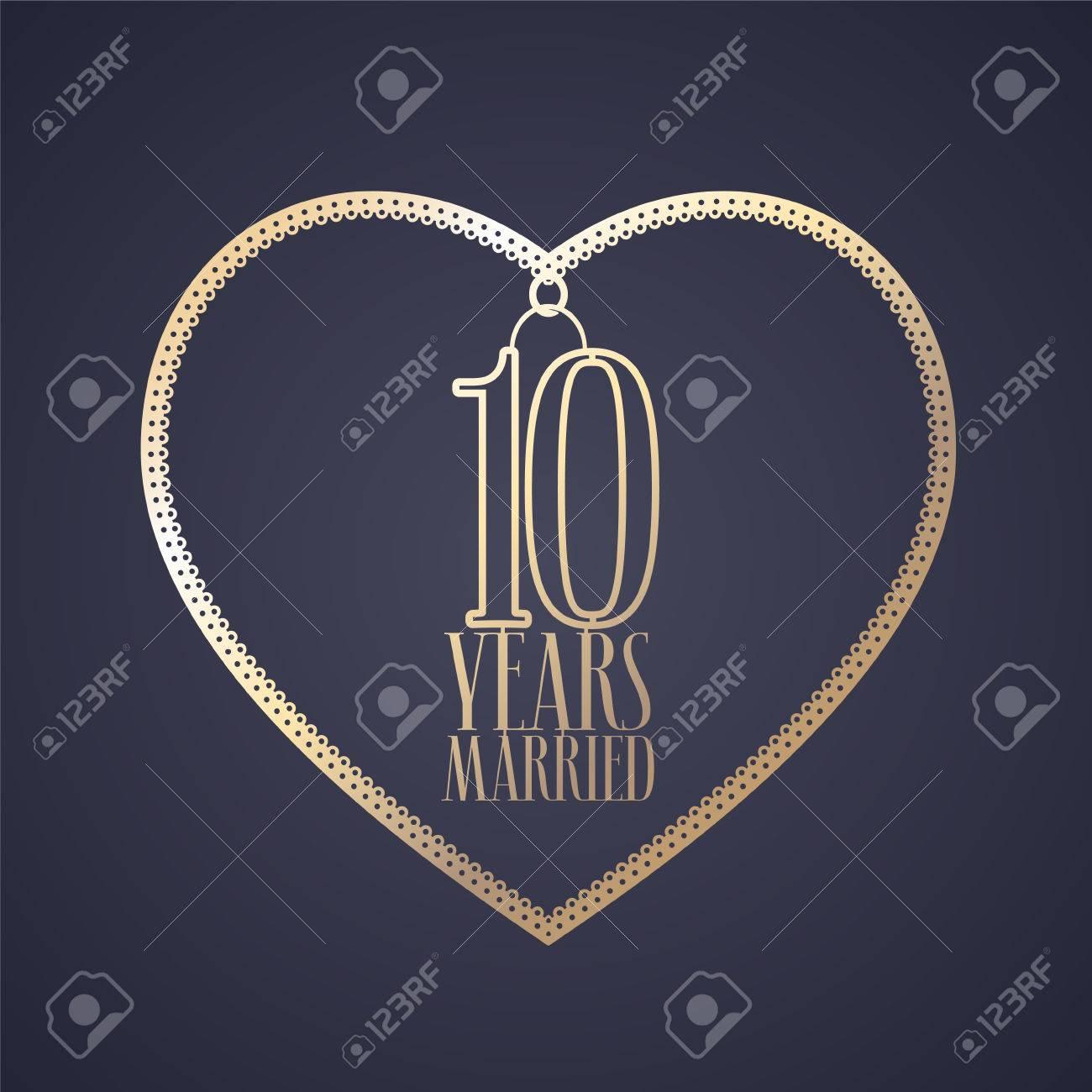 10 Jahre Jahrestag Der Heirat Vektor Symbol Logo Graphic Design
