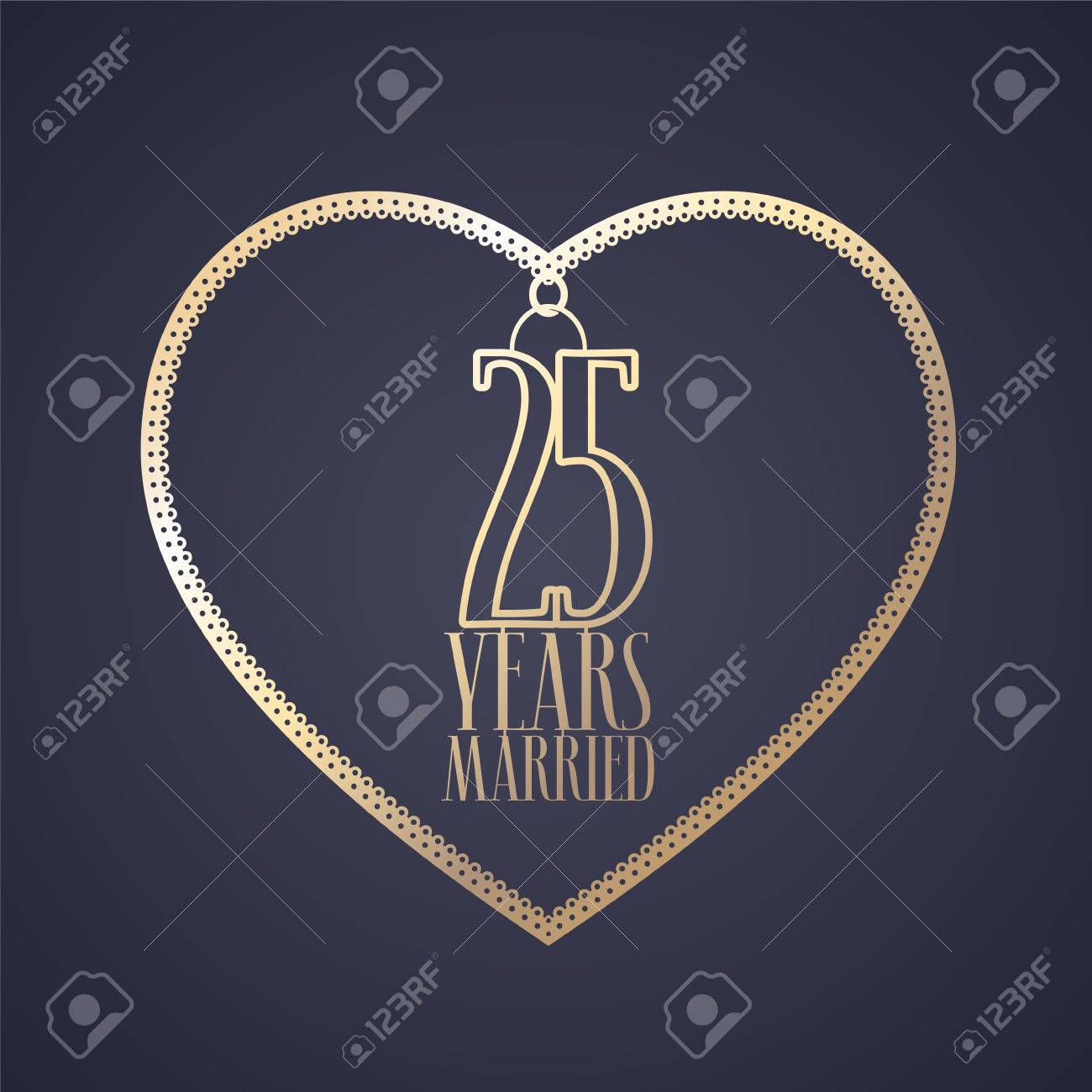 25 years anniversary of being married vector icon, logo. Graphic design element with golden color heart for decoration for 25th anniversary wedding - 81799109