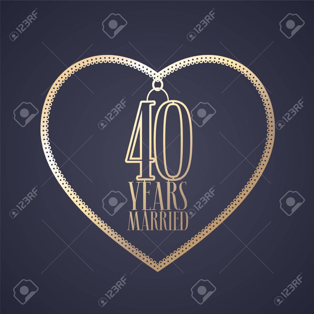 40 Jahre Jubiläum Der Verheiratete Vektor-Symbol, Logo. Grafik ...