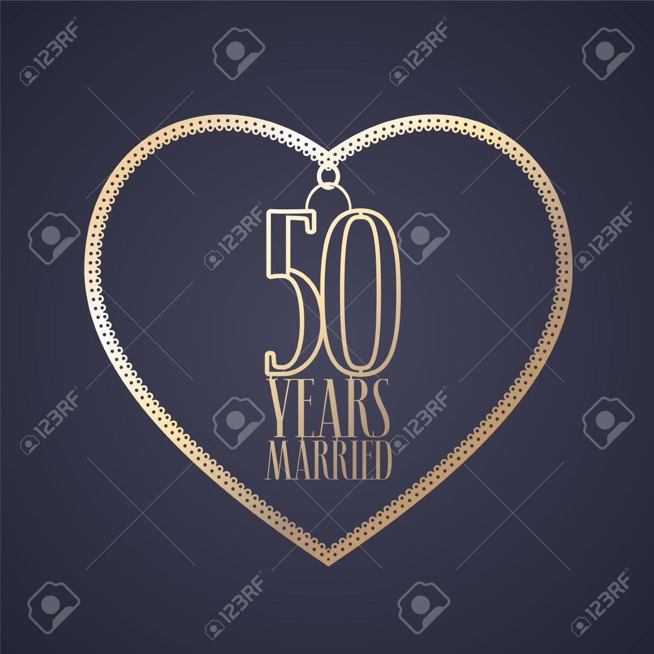 50 Ans Danniversaire De Licône Du Vecteur Marié Logo élément De Conception Graphique Avec Coeur De Couleur Dorée Pour La Décoration Pour Le