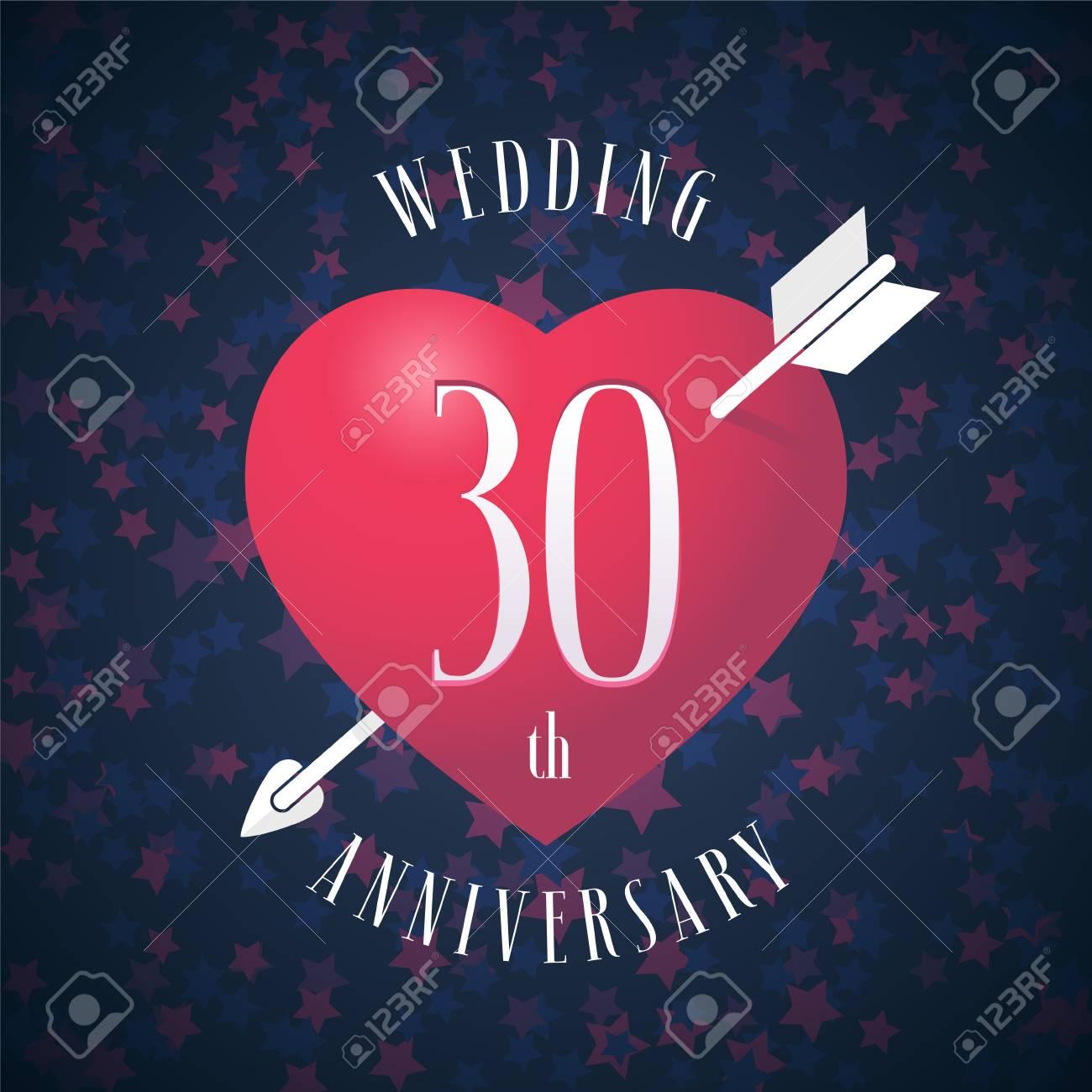 30 Años De Aniversario De Estar Casado Icono De Vector Logotipo Elemento De Diseño Gráfico Con Corazón De Color Rojo Y Flecha Para La Decoración De