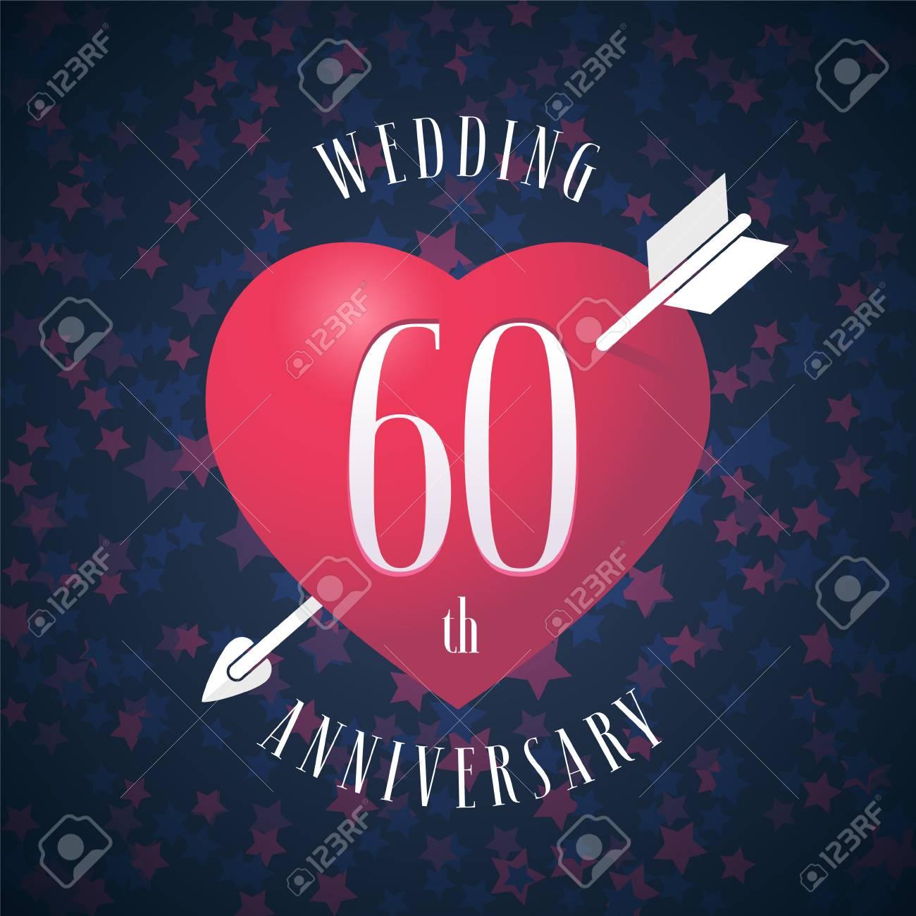 60 Jahre Jubilaum Der Verheiratete Vektor Symbol Logo Grafik