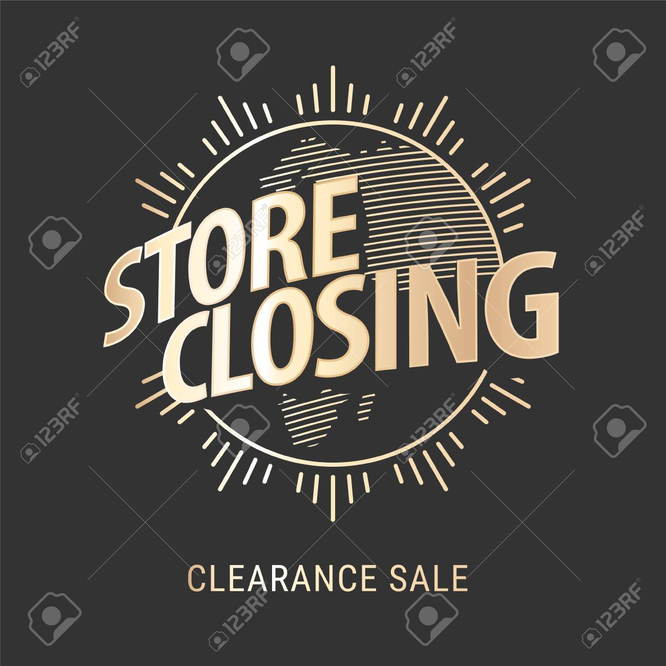 store closing vector illustration background with golden sign